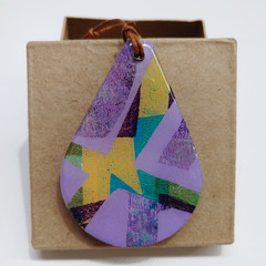 """Purple Cross My Heart"" tear drop pendant with leather cord"