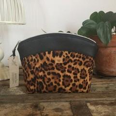 Medium Makeup Purse/Toiletry Bag - Tan Leopard Print/Black Faux Leather