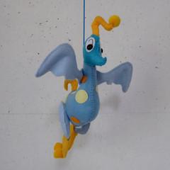 Blue Dancing Bird, a Unique Embroidered Felt Wire Mobile Sculpture Creature