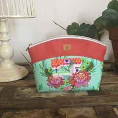 Small Sewing/Project Bag - Sewing Machine on Green/Red Faux Leather