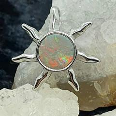 Gorgeous Australian Rainbow Opal Silver Sun