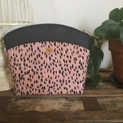 Large Makeup Purse/Toiletry Bag - Pink Leopard Print/Black Faux Leather