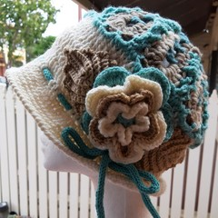 Hat - Wool Jane Austen Style OOAK Turquoise /Cream with adjustable drawstring