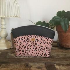 Medium Makeup Purse/Toiletry Bag - Pink Leopard Print/Black Faux Leather