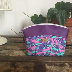 Small Sewing/Project Bag - Tape Measures in Pink & Purple/Purple Faux Leather