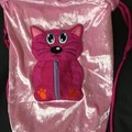 Pink Cat drawstring sport with zippered pouch - hand made