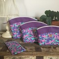 Medium Sewing/Project Bag - Tape Measures in Pink & Purple/Purple Faux Leather
