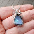 Lovely Boulder opal pendant, sterling silver wire wrapped