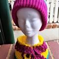 Beanie/Pompom Crochet Girls Hat in Pink/Yellow/Aqua Acrylic Yarn - Double Thick