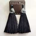 Swarovski Tahitian pearl studs with recycled fabric covered tassel earrings