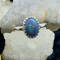 Australian Black Opal 925 Silver Oval Ring