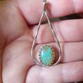 Stunning solid Australian Opal in 925 silver teardrop collet.