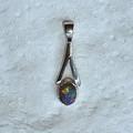 Dainty Oval 925 Sterling Silver Opal Pendant