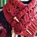 Crochet Neckwarmer OOAK Burnt Orange Fleck Pure Wool & Silk Australian Yarn