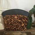 Large Makeup Purse/Toiletry Bag - Tan Leopard Print/Black Faux Leather