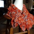 Crochet Neck warmer Stunning OOAK Shades of  Burnt Orange 100%  Soft Cotton Yarn