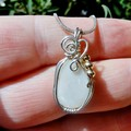White Opal Sterling silver and 14k gold filled wire wrapped pendant