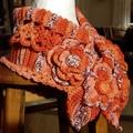 Crochet Neck warmer Stunning OOAK Shades of  Burnt Orange 100%  Soft Cotton Yarn