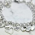 Silver, Heart, Tibetan Charm Bracelet.