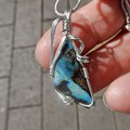 6.30 ct Boulder opal pendant, Australian Opal Sterling silver wire wrapped