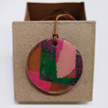"""""""Pink and Green and Gold"""" circle pendant with leather cord"""