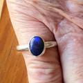 Australian Black Opal 925 Silver Oval Ring.