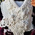 Crochet Neck warmer Stunning OOAK Ivory colour  Soft Cotton/Fine Merino Yarn