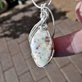 Unusual Oval Boulder Opal Sterling silver wire wrapped, 10.84 ct