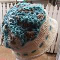 Hat - Wool Jane Austen Style OOAK Turquoise /Cream with adjustable drawstring