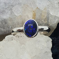 Australian Black Opal 925 Silver Oval Ring.