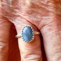Australian Black Opal 925 Silver Oval Ring