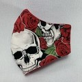 Cotton Face Mask - Skulls & Roses