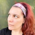 Pink Floral Boho Wire Headband, Wire Headscarf, Twist Headband