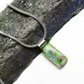 Small Andamooka Matrix Opal pendant, green pinfire colour, sterling silver bail