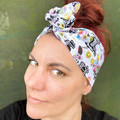 Sugar Skull Dog Skeleton Boho Wire Headband, Wire Headscarf, Twist Headband