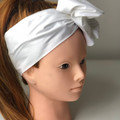 White Boho Wire Headband, Wire Headscarf, Twist Headband