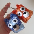 Blue/Bingo Handmade Crochet Keychains, School Bag Decoration