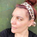 Pink Leopard Boho Wire Headband, Wire Headscarf, Twist Headband