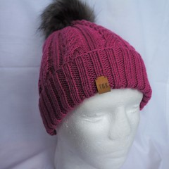 Knitted winter beanie (pink) - teen/adult