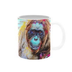 Sad Orangutan Oil Painting. Coffee Cup. Free Delivery.