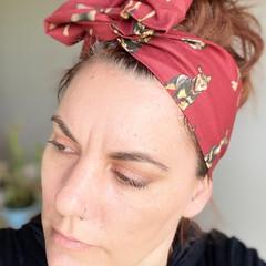 Burgundy Kelpie Boho Wire Headband, Wire Headscarf, Twist Headband