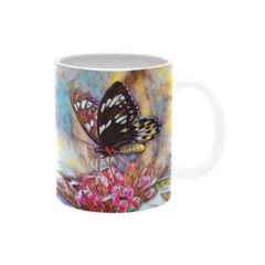 Sweet Snack. Butterfly Oil Painting coffee mug. Delivery Included
