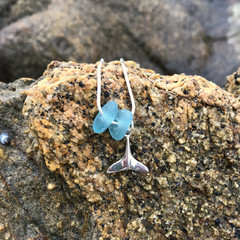 Whale Calling Blue Sea Glass Necklace