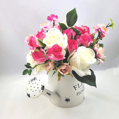 Artificial Hot Pink  Rose Flower Arrangement in Watering Can - Mothers Day Gift
