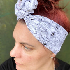 Black and white Cat Boho Wire Headband, Wire Headscarf, Twist Headband