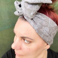 Owl Print Boho Wire Headband, Wire Headscarf, Twist Headband