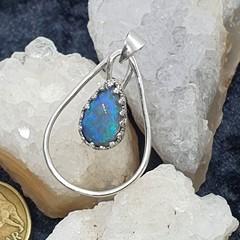 Sterling Silver Lightning Ridge Opal Pendant