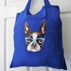 Handmade Tote Bag - Puppy Face with Glasses - Pug Dog