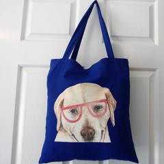 Handmade Tote Bag - Blue - Labrador Dog with Glasses Cute Unique Puppy Love