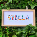 Personalised Baby Name Frame, Nursery Print, Hand-Painted Alphabet, Baby Art